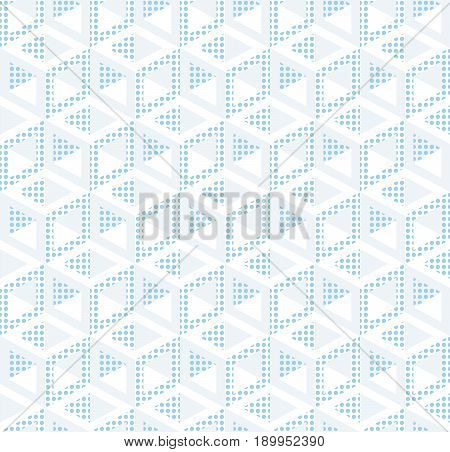 Abstract seamless pattern from isometric figures. Light texture of cubic elements. The geometrical frame.