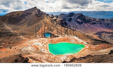Panoramic View Of Colorful Emerald Lakes And Volcanic Landscape, Nz