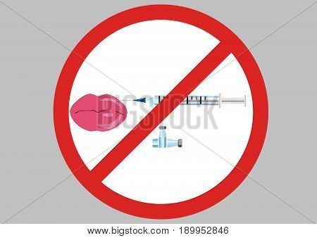 no lips injection icon , vector .