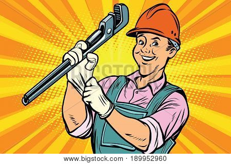 Construction worker with the repair tool adjustable wrench. Comic book cartoon pop art retro colored drawing vintage illustration