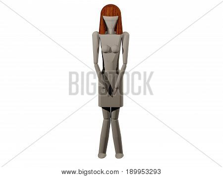 A woman pinching her legs together (3D rendering with wooden spider)