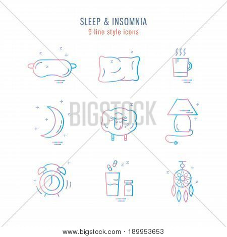 Set Of Isolated Vector Line Icons With Sleep Problems And Insomnia Symbols.