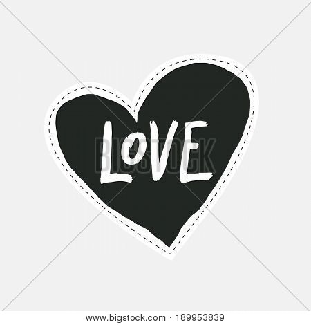 Hand Drawn Love Lettering In Black Hand Drawn Heart. Sticker Or Label In The Style Of 80's And 90's.