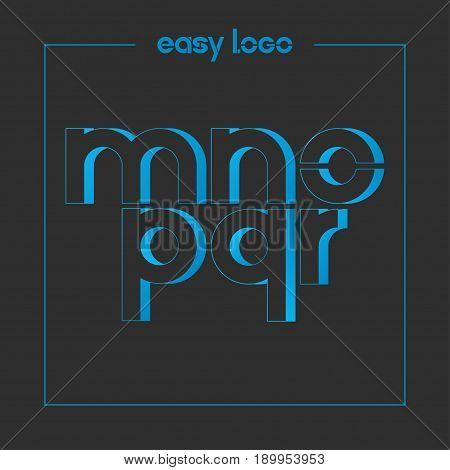 letter M N O P Q R logo alphabet icon set background 10 eps