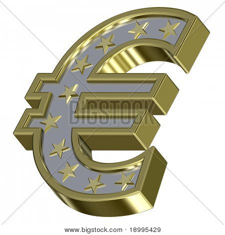 Gold-silver Euro sign with stars isolated on white. Computer generated 3D photo rendering.