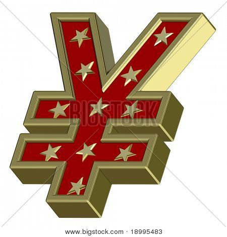 Gold-red Yen sign with stars isolated on white. Computer generated 3D photo rendering.
