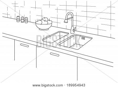 Kitchen sink. Kitchen worktop with sink in line style. Vector illustration in a linear style.