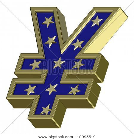 Gold-blue Yen sign with stars isolated on white. Computer generated 3D photo rendering.