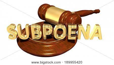 Subpoena Law Concept 3D Illustration