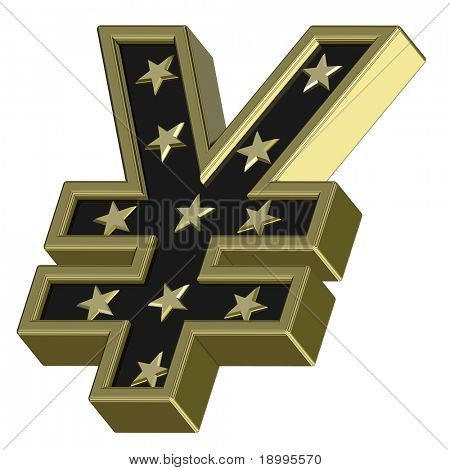 Gold-black Yen sign with stars isolated on white. Computer generated 3D photo rendering.