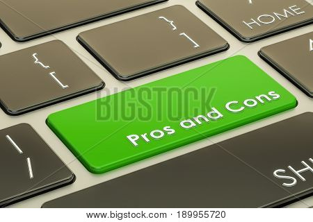 pros and cons button on keyboard. 3D rendering