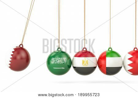 Qatar political conflict with Saud Arabia Egypt UAE and Bahrain concept. 3D rendering
