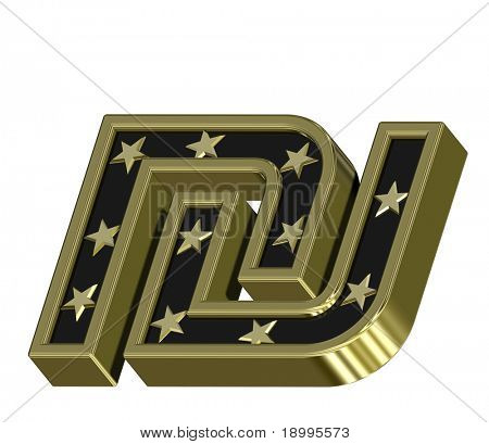 Gold-black Sheqel sign with stars isolated on white. Computer generated 3D photo rendering.
