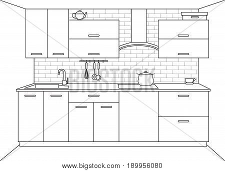 Modern kitchen. Kitchen furniture with sink hob and extractor. Vector illustration in a linear style.