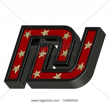 Red-black Sheqel sign with stars isolated on white. Computer generated 3D photo rendering.