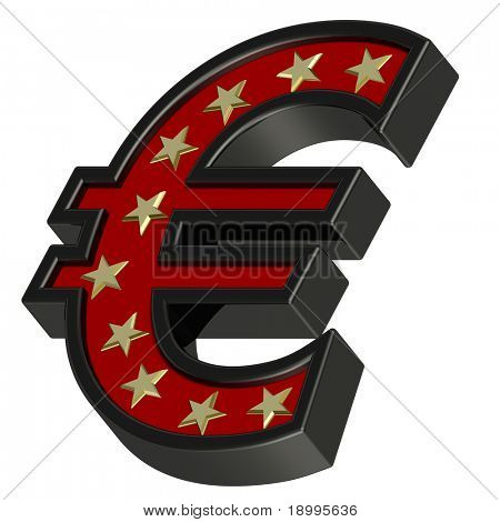 Red-black Euro sign with stars isolated on white. Computer generated 3D photo rendering.