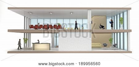 section office building cutaway isolated on white. 3d rendering