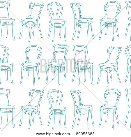 Seamless pattern with chairs in Art Nouveau style. Vector illustration in a linear style.