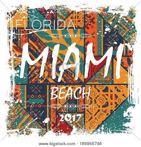 Abstract colorful pattern with white grunge frame and miami text