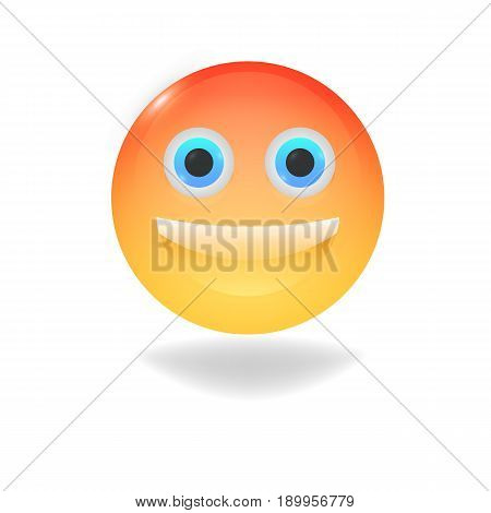 Smiling emoticon with happy eyes. Stock - vector.