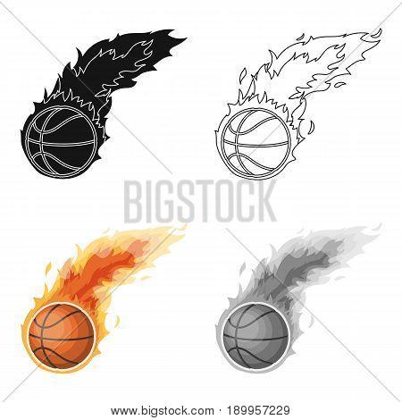 Fireball.Basketball single icon in cartoon style vector symbol stock illustration .
