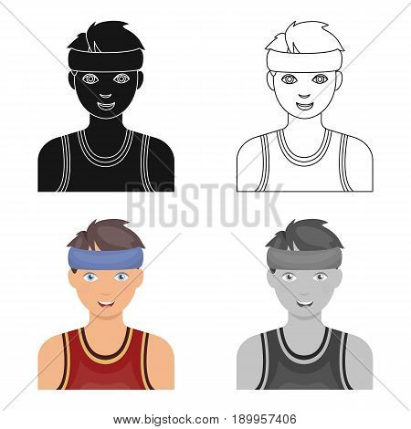 Young basketball player.Basketball single icon in cartoon style vector symbol stock illustration .