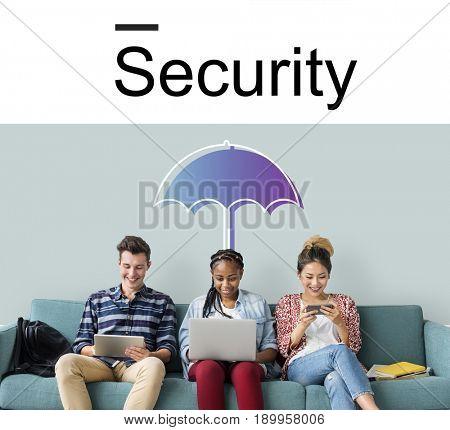 Warranty Security Safety Protection Guard Guarantee Umbrella Icons Symbols