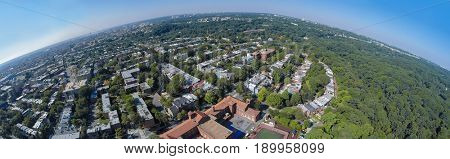 Panorama of Washington DC with residential neighborhood Mount Pleasant, Rock Creek Park and Columbia Heights at summer sunny day. Aerial panorama