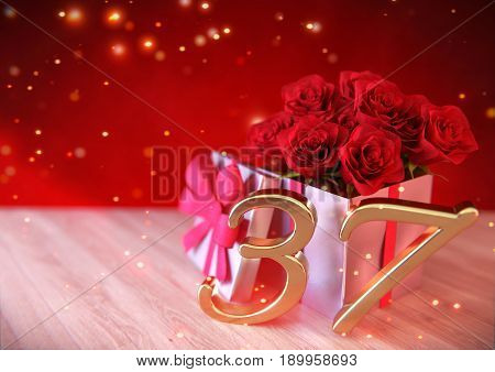 birthday concept with red roses in the gift on wooden desk. 3D render - thirty-seventh birthday.37th