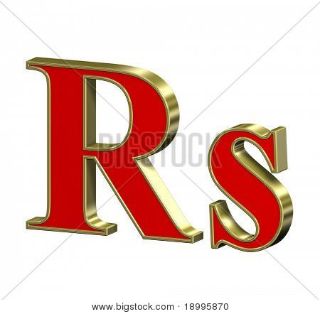 Indian rupees sign from red with gold frame Roman alphabet set, isolated on white. Computer generated 3D photo rendering.