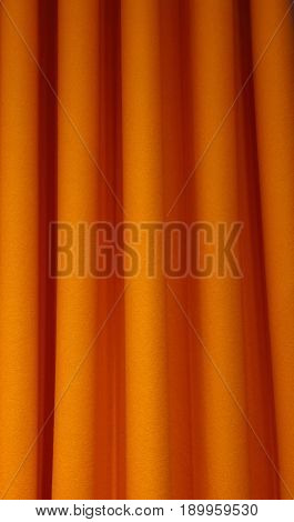 Heavy Orange Felt Textile Curtain Fold Background
