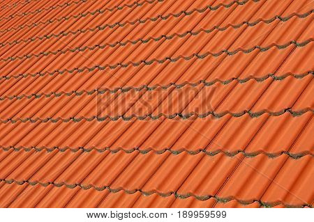 Red Brown Ceramic Roof Tiles Pattern Background