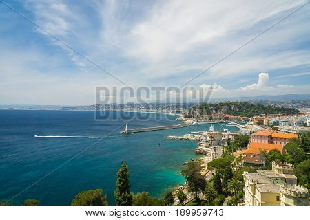 City of NIce, France from a high point of view