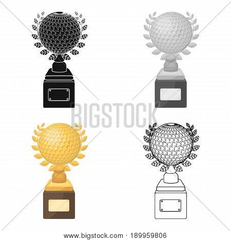 Cup for winning a golf tournament.Golf club single icon in cartoon style vector symbol stock illustration .