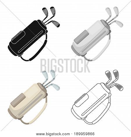 A bag with golf clubs.Golf club single icon in cartoon style vector symbol stock illustration .