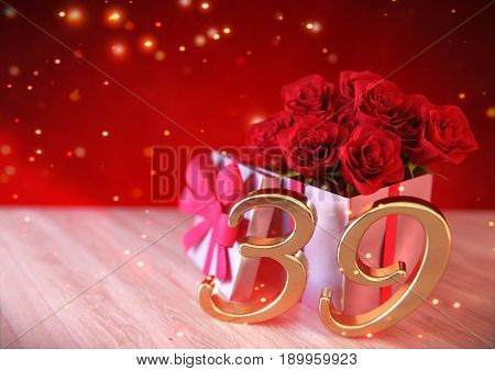 birthday concept with red roses in the gift on wooden desk. 3D render - thirty-nineth birthday. 39th