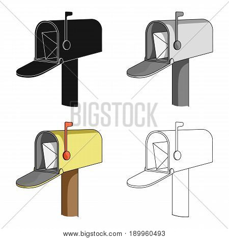 Correspondence box.Mail and postman single icon in cartoon style vector symbol stock illustration .