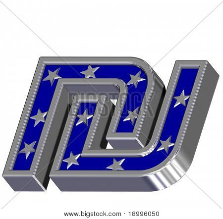 Silver-blue Sheqel sign with stars isolated on white. Computer generated 3D photo rendering.