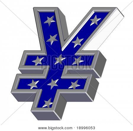 Silver-blue Yen sign with stars isolated on white. Computer generated 3D photo rendering.