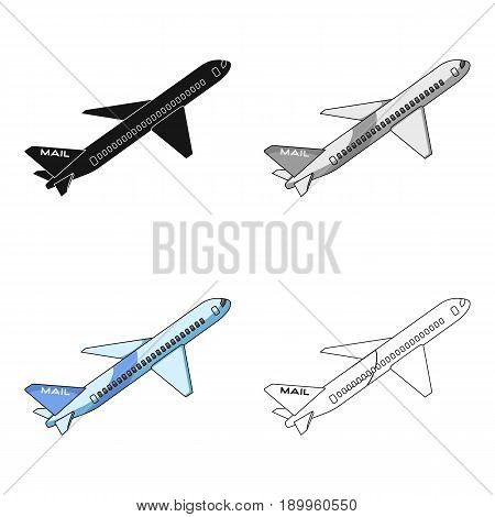 Postal aircraft.Mail and postman single icon in cartoon style vector symbol stock illustration .