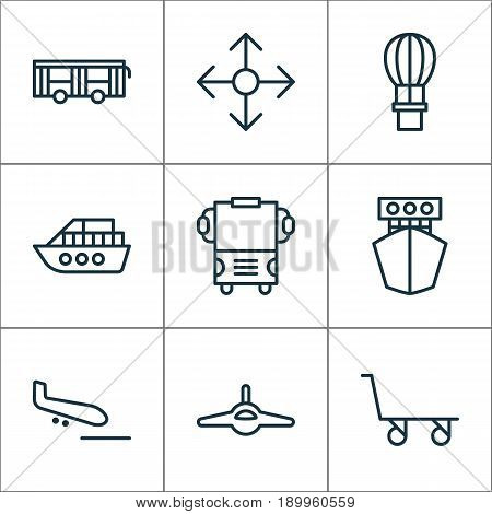 Shipping Icons Set. Collection Of Flight Basket, Vehicle, Plane Arrival And Other Elements. Also Includes Symbols Such As Flight, Cargo, Cart.