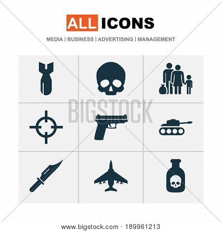 Combat Icons Set. Collection Of Cranium, Cutter, Rocket And Other Elements. Also Includes Symbols Such As Poison, People, Fugitive.