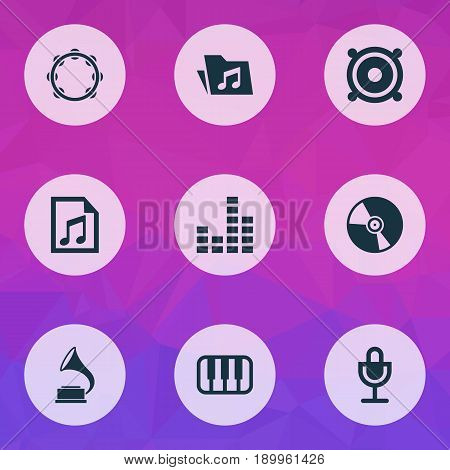 Music Icons Set. Collection Of Equalizer, Dossier, File And Other Elements. Also Includes Symbols Such As Playlist, Folder, Mic.