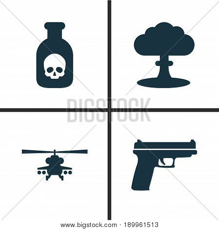 Combat Icons Set. Collection Of Danger, Weapons, Atom And Other Elements. Also Includes Symbols Such As Chopper, Poison, Atom.