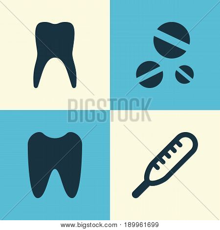 Antibiotic Icons Set. Collection Of Cure, Claw, Ache And Other Elements. Also Includes Symbols Such As Tooth, Drug, Ache.