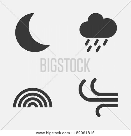 Air Icons Set. Collection Of Colors, Douche, Moon And Other Elements. Also Includes Symbols Such As Rainbow, Rain, Moonlight.