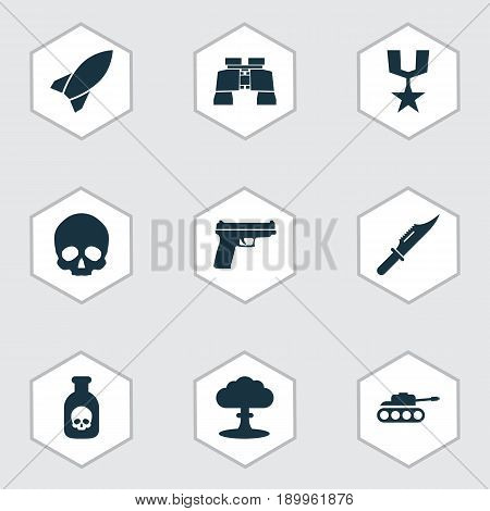 Warfare Icons Set. Collection Of Order, Danger, Atom And Other Elements. Also Includes Symbols Such As Atom, Danger, Cutter.
