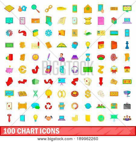 100 chart icons set in cartoon style for any design vector illustration