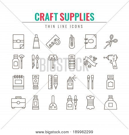 Craft Supplies & Materials. Thin Line Icons Set. Elements for Websites Banners Infographic Illustrations. Craft show craft making and sale poster design elements. Elements for craft studio shops courses and workshops. Vector line style illustration.