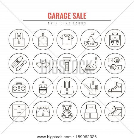 Garage sale and yard sale thin line icons. Design elements for Websites Banners Posters Signs. Vector line style illustration.